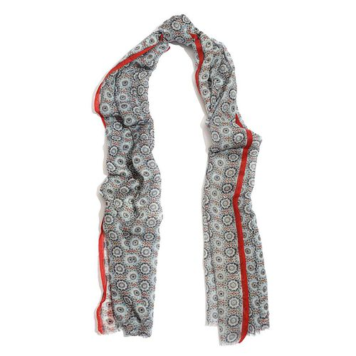 Designer Inspired 100% Wool Navy Blue and Red Colour Hand Block Printed Scarf (Size 185x75 Cm)