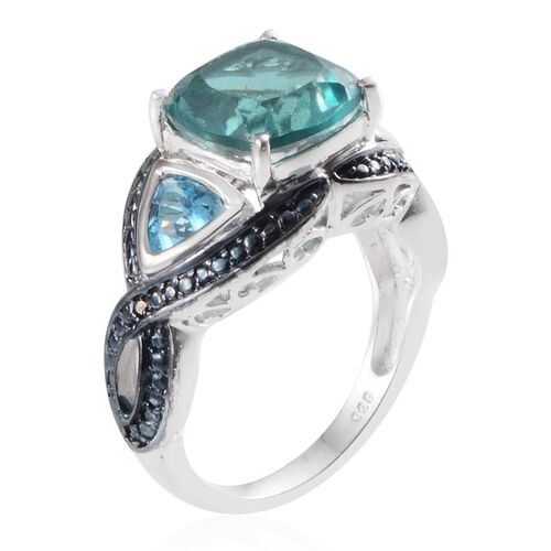 Paraiba Quartz (Cush 4.25 Ct), Blue Topaz and Blue Diamond Ring in Platinum Overlay Sterling Silver 5.260 Ct.