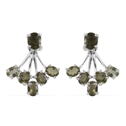 Bohemian Moldavite (Ovl) Jacket Earrings (with Push Back) in Platinum Overlay Sterling Silver 1.750 Ct.