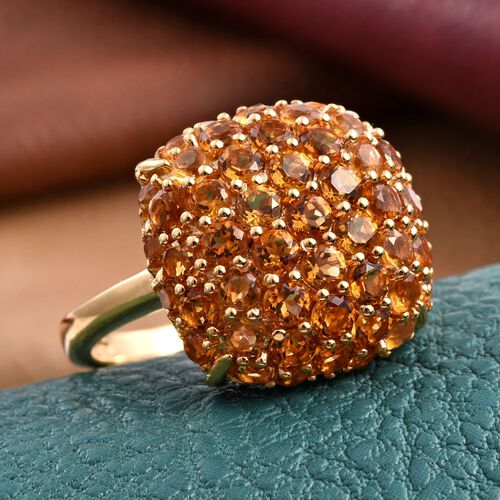 Citrine (Rnd) Cluster Ring in 14K Gold Overlay Sterling Silver 3.000 Ct.