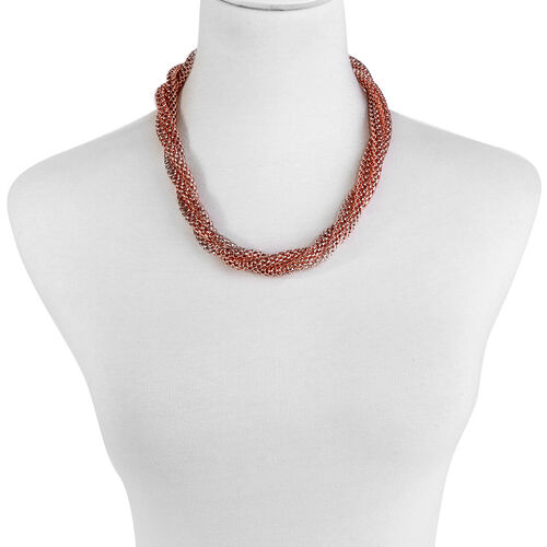 Twisted Mesh Necklace (Size 20) and Bracelet (Size 7.50) in Rose Gold Overlay Stainless Steel