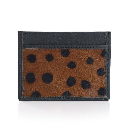 Genuine Leather Chocolate and Black Colour Dot Pattern Leopard Pattern Card Holder (Size 10x8 Cm)