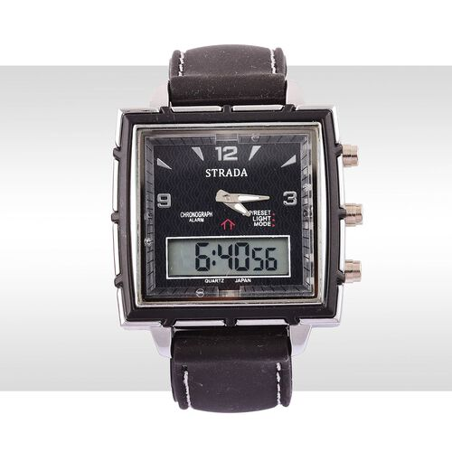 STRADA Chinese Movement Black Colour Analog - Digital Watch in Silver Tone with Black Colour Silicone Strap