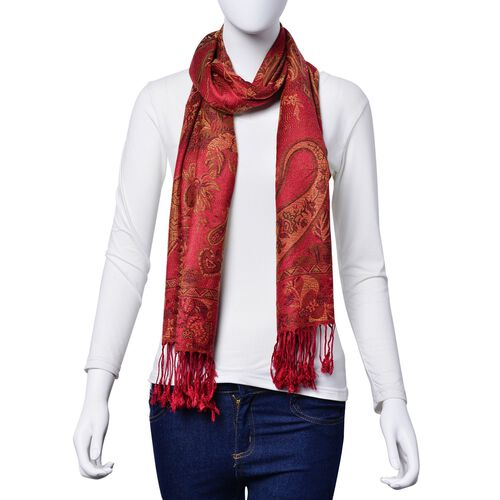 Multi Colour Floral and Paisley Pattern Red Colour Scarf with Fringes (Size 170x70 Cm)