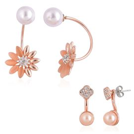 Set of 2 - Simulated Cats Eye and White Austrian Crystal Earrings (with Push Back) in Rose Gold Tone
