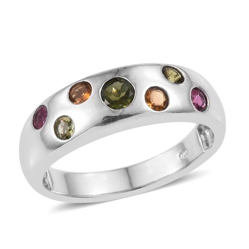 Rainbow Tourmaline (Rnd) Ring in Platinum Overlay Sterling Silver 1.000 Ct.