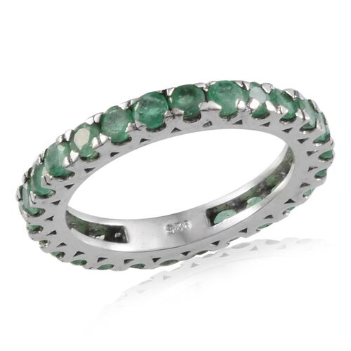 Kagem Zambian Emerald (Rnd) Full Eternity Ring in Platinum Overlay Sterling Silver 2.250 Ct.