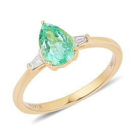 ILIANA 18K Y Gold AAA Boyaca Colombian Emerald (Pear 1.00 Ct), Diamond (SI/G-H) Ring 1.125 Ct.