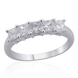 ILIANA 18K W Gold 1 Carat Diamond 5 Stone Half Eternity Band Ring, IGI Certified SI/G-H