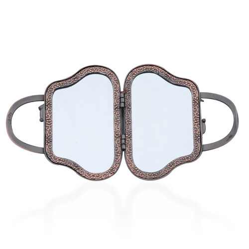 Purple Enameled Filigree Pattern Handbag Shape Compact Mirror in Rose Gold Tone with Multi Colour Simulated Stone
