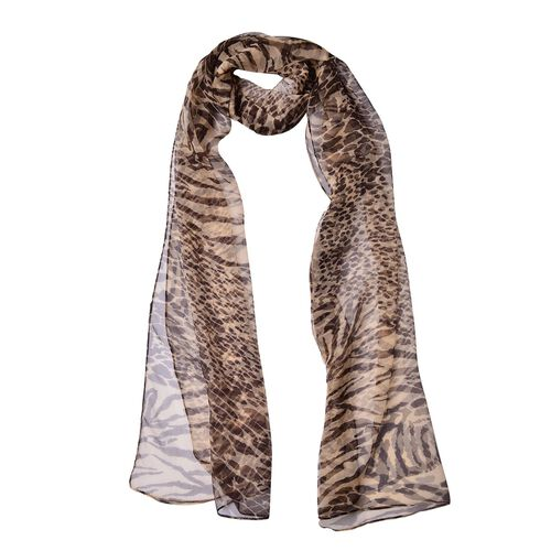 100% Mulberry Silk Chocolate Colour Leopard and Tiger Pattern Scarf (Size 180X50 Cm)