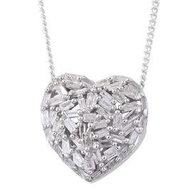 GP Diamond (Bgt), Kanchanaburi Blue Sapphire Heart Necklace (Size 18) in Platinum Overlay Sterling Silver 0.360 Ct.