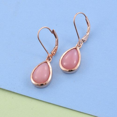 Natural Peruvian Pink Opal (Pear) Lever Back Earrings in Rose Gold Overlay Sterling Silver 5.250 Ct.