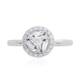 9K W Gold SGL Certified Diamond (Rnd 0.10 Ct) (I3/ G-H) Ring 0.500 Ct.