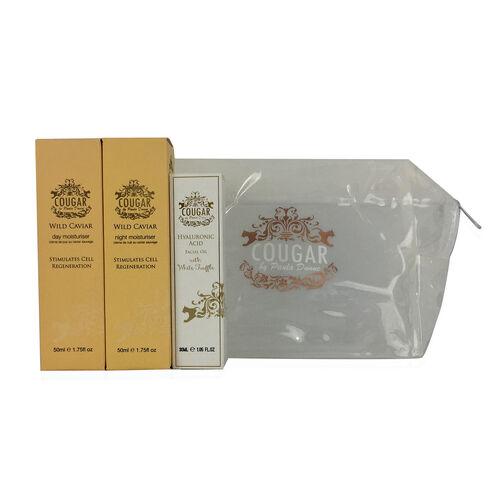 COUGAR- Caviar Gift set- Day Moist 50ml, Night Moist 50ml and Hyaluronic Acid with white Truffle Oil 30ml- White Bag
