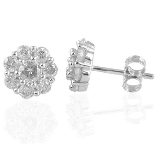 9K W Gold SGL Certified Diamond (Rnd) (I3/ G-H) Floral Stud Earrings (with Push Back) 1.000 Ct.