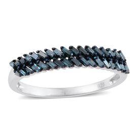 Blue Diamond (Bgt) Ring in Platinum Overlay Sterling Silver 0.330 Ct.
