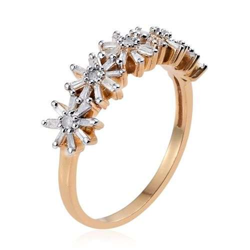 Diamond (Rnd) Floral Ring in 14K Gold Overlay Sterling Silver 0.500 Ct.