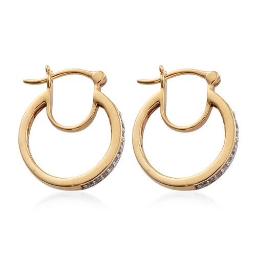 Diamond 0.25 Carat Silver Hoop Earrings in Gold Overlay (with Clasp)