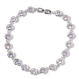 AAA Simulated White Diamond Bracelet (Size 7.5) in Silver Tone