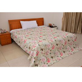 Limited Available 100% Cotton Rose Garden Reversible Quilt with Scalloped Edges (Size 260x240 Cm)
