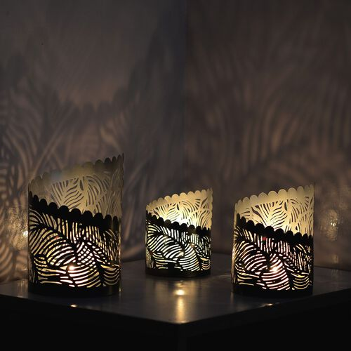 Set of 3 - Home Decor - Fancy Cut Work Black Tea Light or Candle Holder