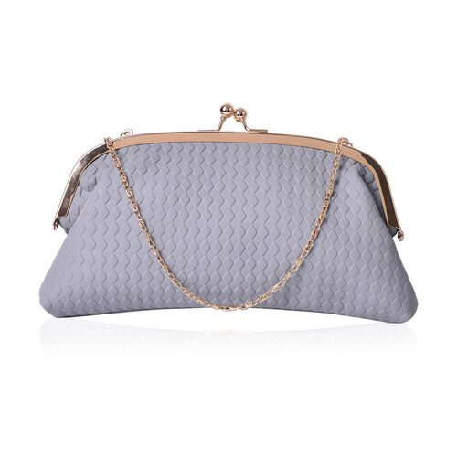 Diamond Pattern Grey Colour Clutch (Size 27x13.5 Cm)