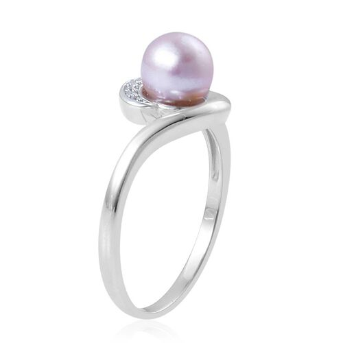Japanese Akoya Pearl (Rnd), White Zircon Ring in Platinum Overlay Sterling Silver