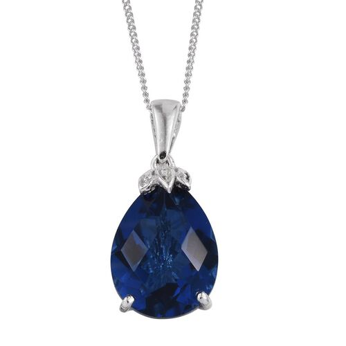 Checkerboard Cut Ceylon Colour Quartz (Pear) Solitaire Pendant With Chain in Platinum Overlay Sterling Silver 9.000 Ct.