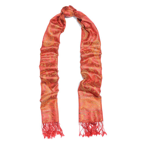 Silk Mark - 100% Super Fine Silk Burnt Ochre, Orange and Multi Colour Floral and Paisley Pattern Jacquard Jamawar Scarf with Fringes (Size 180x70 Cm) (Weight 125 - 140 Gms)