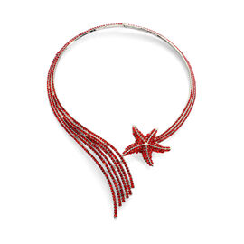 AAA Red Austrian Crystal Shooting Star Necklace (Size 16) in Silver Tone