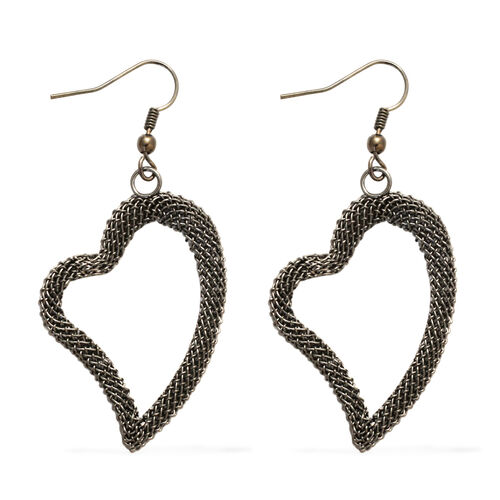 Heart Necklace and Hook Earrings (Size 20) in Black Tone