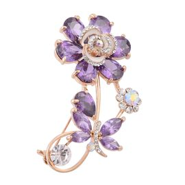 Simulated Amethyst and White Austrian Crystal Floral Brooch in Gold Tone