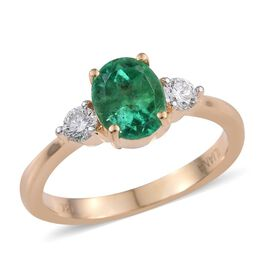 ILIANA 18K Y Gold Boyaca Colombian Emerald (Ovl 1.45 Ct), Diamond Ring 1.750 Ct.