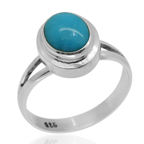 Royal Bali Collection Arizona Sleeping Beauty Turquoise (Ovl) Solitaire Ring in Sterling Silver 2.070 Ct.