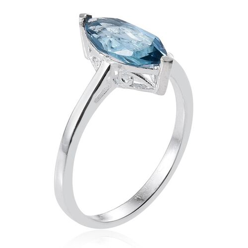 London Blue Topaz (Mrq) Solitaire Ring in Sterling Silver 2.250 Ct.