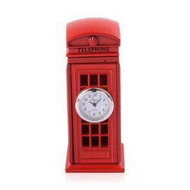 (Option 1) Home Decor - STRADA Japanese Movement White Dial Red Phone Booth Design Clock in Silver Tone