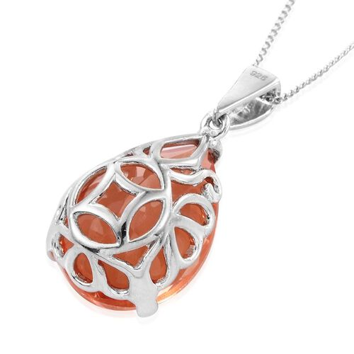 Galileia Blush Pink Quartz (Pear) Pendant With Chain in Platinum Overlay Sterling Silver 12.000 Ct.