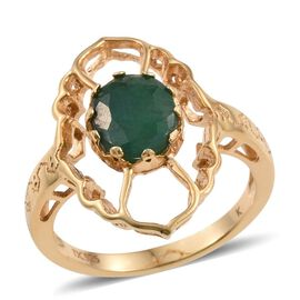 Kimberley Crimson Spice Collection Enhanced Emerald (Ovl) Ring in 14K Gold Overlay Sterling Silver 3.000 Ct.