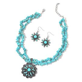 Blue Howlite Dual Strand Floral Necklace (Size 18 with 2 inch Extender) and Hook Earrings in Black Tone 451.500 Ct.
