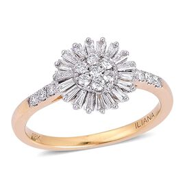 ILIANA 18K Yellow Gold 0.50 Carat Diamond Cluster Flower Ring IGI Certified SI G-H.