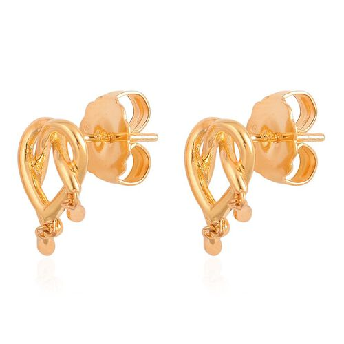 LucyQ Melting Heart with Drip Stud Earrings (wwith Push Back) in Yellow Gold Overlay Sterling Silver 3.78 Gms.