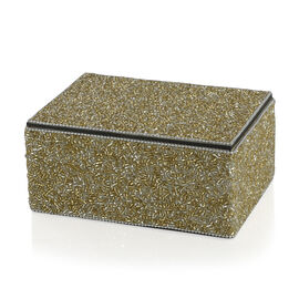 Home Decor - Champagne and Silver Colour Seed Beaded Handmade Box (Size 18x12.5x7.5 Cm)