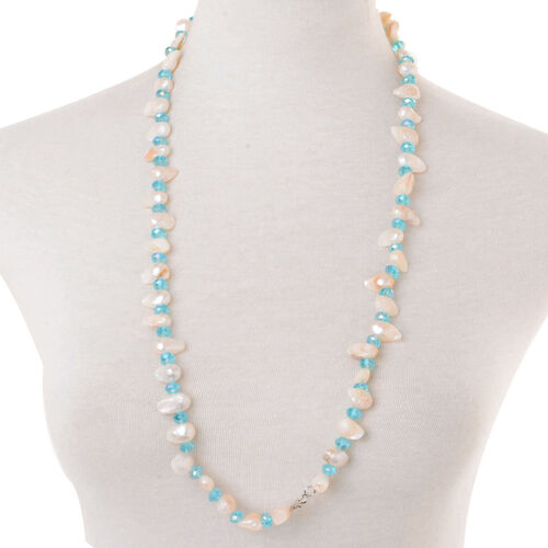 White Keshi Pearl, Blue Glass Necklace (Size 32) and Bracelet (Size 7.50) in Stainless Steel
