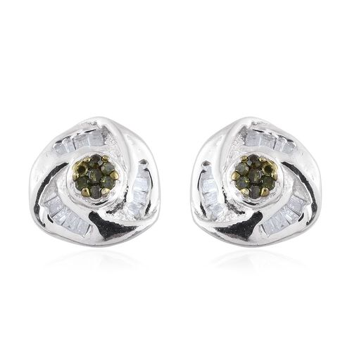 Green Diamond (Rnd), White Diamond Stud Earrings (with Push Back) in Platinum Overlay Sterling Silver 0.150 Ct.