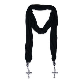 Royal Bali Collection Black Jersey Scarf with Cross Charm