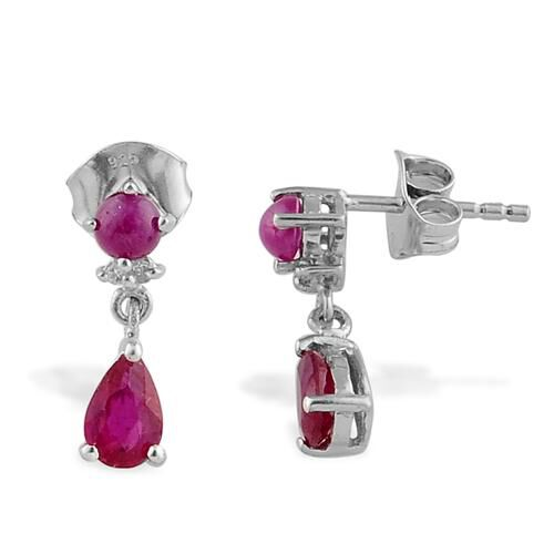 African Ruby (0.90 Ct),Burmese Ruby,White Topaz Platinum Overlay Sterling Silver Earring  1.500  Ct.