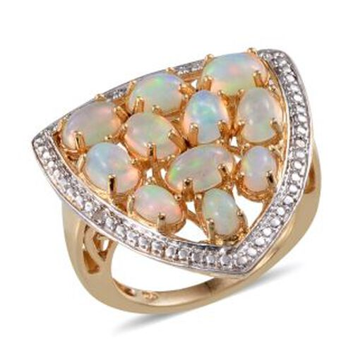 Ethiopian Welo Opal (Ovl), Diamond Ring in 14K Gold Overlay Sterling Silver 3.020 Ct.