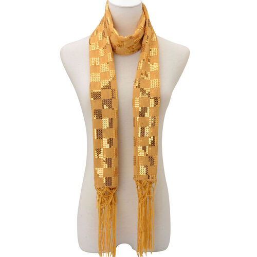 Gold Colour Check Pattern Sequin Scarf (Size 55x160 Cm)