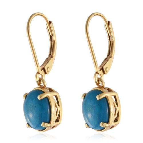 Natural Rare Opalina (Ovl) Lever Back Earrings in 14K Gold Overlay Sterling Silver 3.000 Ct.